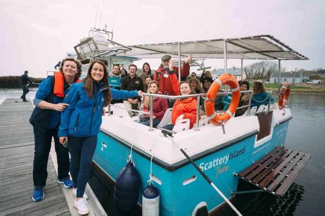 Failte Ireland's Geraldine Larner with overseas buyers on a trip to Scattery Island with Irene hamilton of Scattery Island Tours off the Co Clare coast