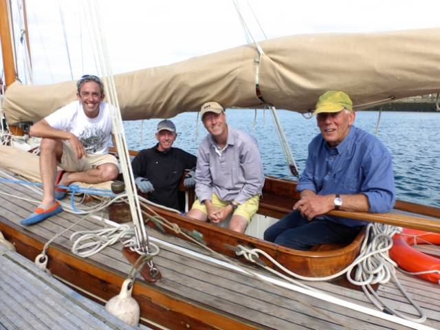 Serial classics restorer Rob Mason (right) aboard the successful Myfanwy in Dun Laoghaire with shipmates (left to right) Max Mason, Gus Stothert, and Andy Whitcher. Photo: W M Nixon