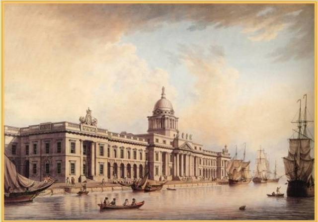 Join in a lunchtime lecture on the theme of 'Dublin Port & Dockers' held every Tuesday during October in Dublin City Hall. Above a painting of another historic landmark in the capital, the Customs House located on the north banks of the River Liffey.
