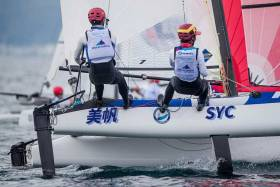 A Nacra 17 competing in round one of the 2020 World Cup Series
