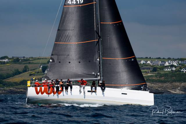 George Sisk's XP44 WOW from the Royal Irish Yacht Club on Dublin Bay leads the Coastal class after day one of the Sovereign's Cup at Kinsale