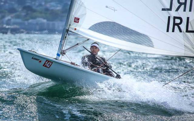 Ross O'Leary of the Royal St. George Yacht Club in action at the Irish Laser Masters Championships on Dublin Bay