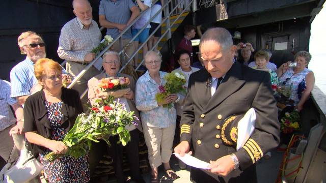 Relatives of S.S. Dundalk on RTE's Nationwide edition (last night also featured RMS Leinster) where a commemorative ceremony was held in advance to the 100th anniversary (14 October). AFLOAT has identified the ceremony took place on board the Isle of Man Steam Packet's Mannanan (with master above). The fastferry took a special detour to the wreck site.
