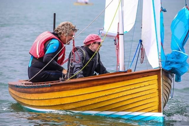 IDRA 14 No.38 Starfish competing in June's DMYC Regatta on Dublin Bay. The first new build in 50 years of this 70–year–old clinker dinghy type will be launched in Clontarf on June 25th