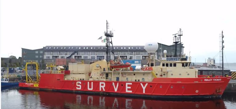 The survey ship named Ridley is now exploring suitable seabed approaches from Galway out to the boundary of the Irish exclusive economic zone (EEZ)