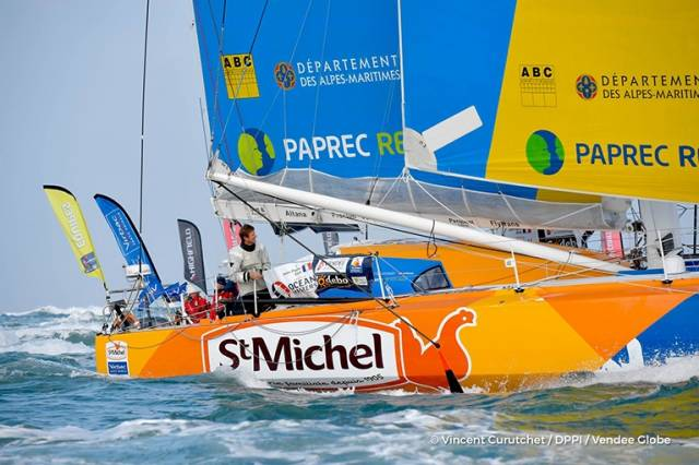 The arrival home of Jean-Pierre Dick (FRA), skipper of St-Michel Virbac, fourth in the sailing circumnavigation solo race Vendee Globe, in Les Sables d'Olonne, France today