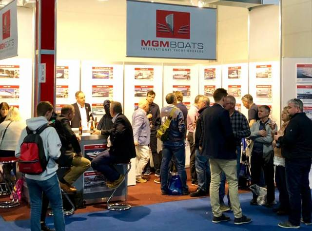 6 pm on the opening day of Boot Dusseldorf  – Over 60 people were on Ireland's MGM Boats brokerage stand at one stage and all were Irish!