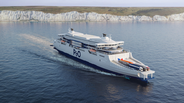CGI image of how P&O Ferries new generation super-ferries will look like on the Dover-Calais route linking the UK and mainland Europe. The new tonnage will feature a double-ended design and two bridges, meaning that there is no need for the ferry to turn around when within ports.