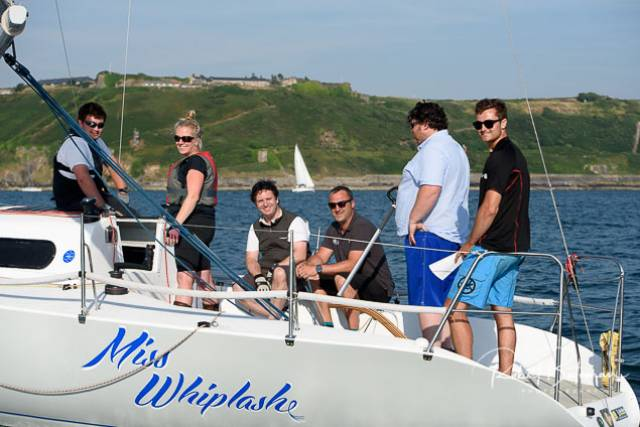 Sailing on the Half Tonner, Miss Whiplash, race sponsor Ronan Enright, (third from left) a former Rear RCYC Admiral, was one of 26 boats competing. Scroll down for gallery