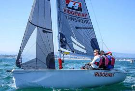 Peter Kennedy, with crew Stephen Kane and Hammy Baker lead the SB20 Nationals on Dublin Bay