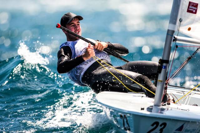 The National Yacht Club's Finn Lynch in action at the Sailing World Cup Finals in Santander