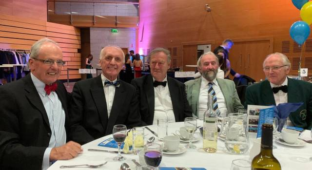 Five of the UCD 1969 Eights Champions of Ireland: Paul McElwee, Niall Sheehy, Rodney Mearns, John Riney and Frank Durkin.