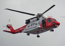 The Shannon-based Irish Coast Guard helicopter Rescue 115 has been involved in the search for the missing sea angler since Saturday morning