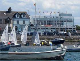 Skerries Sailing Club looking very trim, as befits the new SuperValu TidyTown status, with GP 14s preparing to go out to the race area