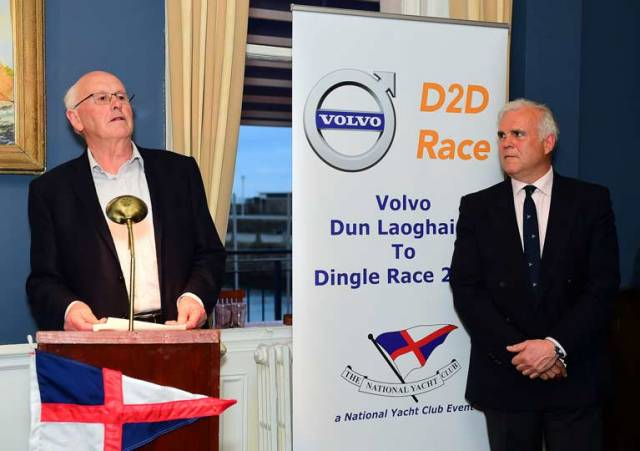The late Martin Crotty (left) hands over the Chairmanship of the Dun Loaghaire to Dingle Race to Adam Winkelmann in the National Yacht Club, April 5th 2017