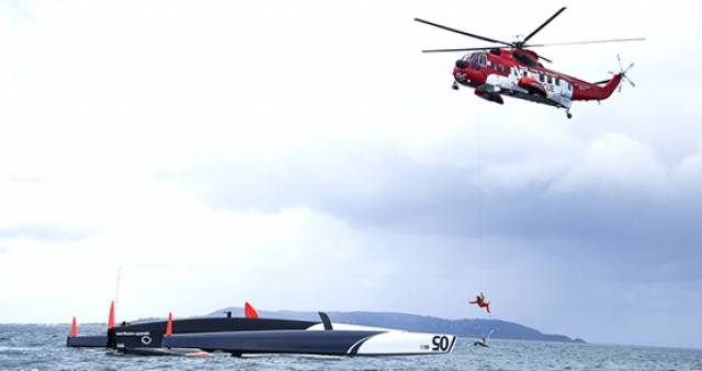 A Coastguard helicopter rescue an injured crew man from a capsized trimaran on Dublin Bay in 2013.  At year end 2015, approximately 64% of all Irish Coast Guard call outs relating to vessels were linked to recreational craft use
