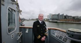 Lieut Cmdr Anthony Geraghty on board LE William Butler Yeats in Dublin Port yesterday, where Afloat adds the OPV90 class vessel remains in port as a trio of European navalships arrive in the capital today and over the May Bank Holiday weekend. (See story: Naval Visits)