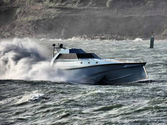 Thunder Child II cutting through the waves off Cork over the weekend