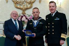 President Michael D Higgins and Vice Admiral Mark Mellett presented Able Mechanician Ryan O'Driscoll with the The Respect award at Aras an Uachtarain