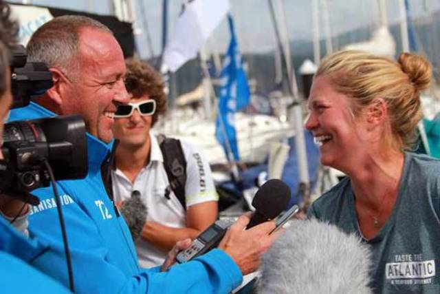 Joan Mulloy speaks to the media after completing leg two of the Figaro race