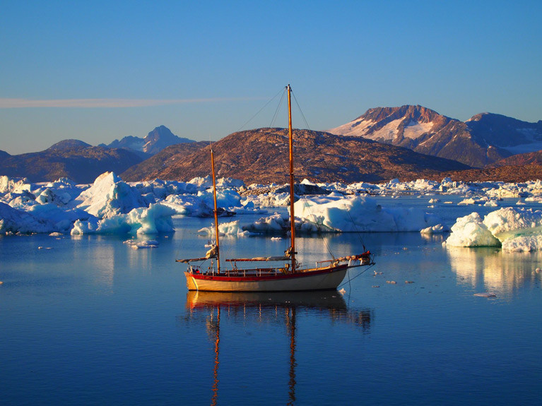 The 39ft ketch Teddy of Clifden in a Greenland anchorage