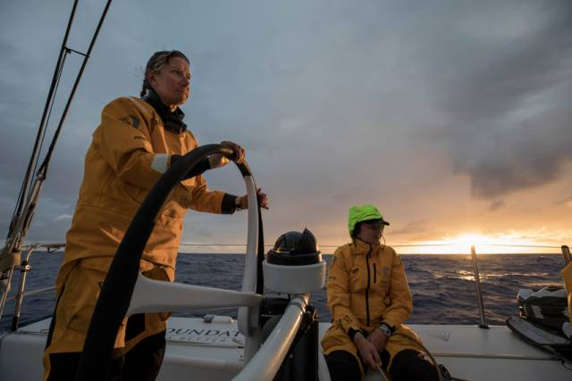 Day 8 of Leg 6 on board Turn the Tide on Plastic, with Dee Caffari and Annalise Murphy on the sunrise watch