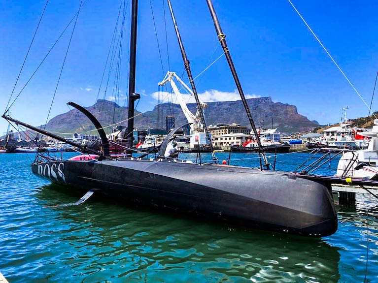 Alex Thomson's Hugo Boss berthed in Cape Town