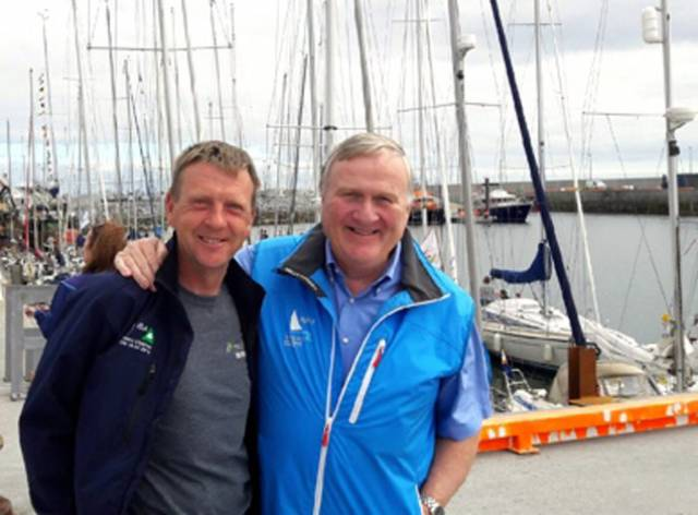 ICRA Commodore and leading WIORA member Simon McGibney (left) with President of Irish Sailing Jack Roy at Cill Ronan in the Aran Islands today for the opening of WIORA Week 2017