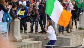 Step up: Annalise Murphy comes ashore at Dun Laoghaire Pier last night for well earned Olympic celebrations. Her result can boost Irish sailing