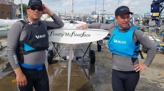 New world champions - Chris Turner and Graham Vials ashore at the National Yacht Club