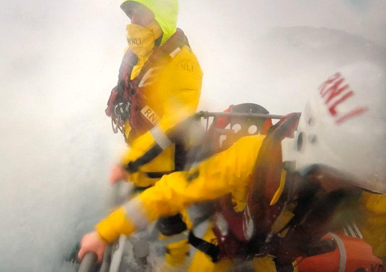 Oban's lifeboat crew amid challenging conditions at sea yesterday