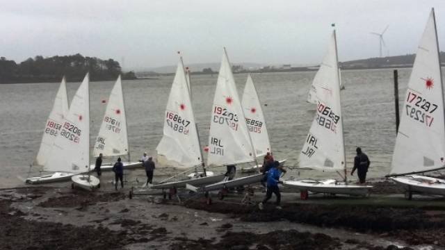 Monkstown Bay Sailing Club Lasers launch for a race in Cork Harbour