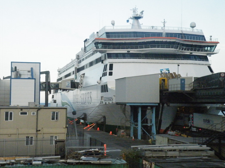 ICG (owners of Irish Ferries) chief Eamonn Rothwell says passenger quarantine rule will put Common Travel Area at risk post-Brexit. Above AFLOAT's photo of Irish Ferries Ulysses at Dublin Port ferryport terminal No.1. from where the cruiseferry operates on the core Irish Sea route linking Holyhead along with ropax Epsilon.
