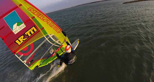 27–times Irish Windsurfing Champion Oisín van Gelderen lines up at the start of the speed record course at Salin de La Palme