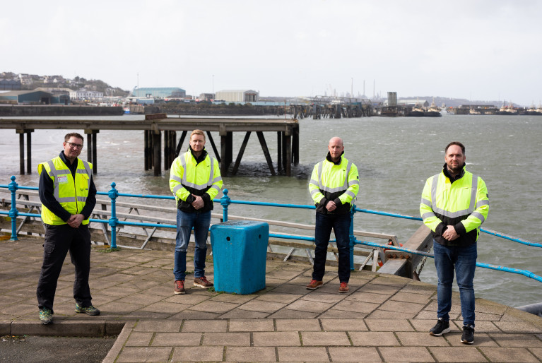 Pictured at the south Wales port of Pembroke Dock (L-R) Tim James from the port with the HST Marine team Ian Oxford (CFO), Chris Monan (COO) and Tom Nevin (CEO).