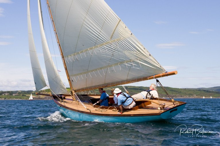 The Cork Harbour One Design Elsie (Patrick Dorgan) at a previous Glandore Regatta. She was designed by William Fife in 1895