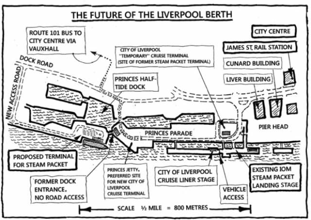 Plan of the proposed Liverpool ferry berth at Princes Half Tide Dock which would replace existing Isle of Man ferry terminal at Liverpool Landing Stage. This berth is located almost opposite of the UNESCO World Heritage site of the famous Waterfront dubbed the Three Graces