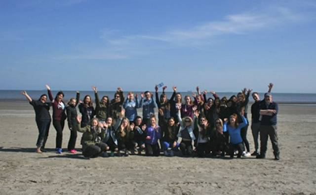 Student teachers from DCU's St Patrick's Campus on a field trip as part of the Marine Institute's pilot module on marine science and heritage