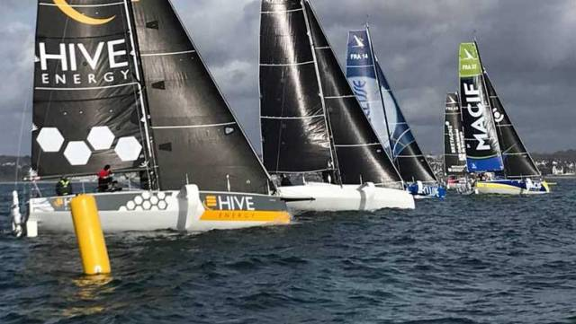 The new Figaro 3 fleet at the start of the Sardinha Cup series. Rig problems for a significant part of the fleet have resulted in Leg 3 being postponed until the weekend