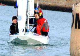 Phil Lawton (right) and Owen Laverty competing in a Fireball dinghy in the DMYC Frostbite Series