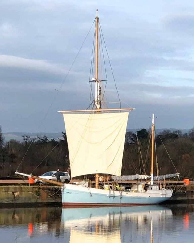 The Square sail set on Ilen in Limerick