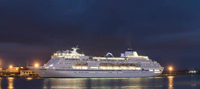 The new CMV flagship Columbus seen at night in a UK port prior to beginning the current 'Grand British Isles Discovery' cruise that included calls to Belfast and yesterday a late night departure from Dublin Port