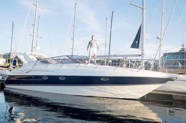 Conor McGregor stands tall aboard The 188 moored at Dun Laoghaire Harbour