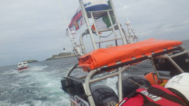Skerries RNLI tows the stricken motorboat to safety