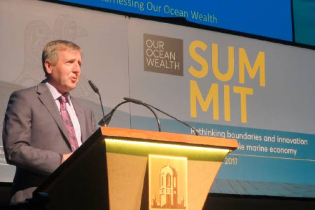 Marine Minister Michael Creed addressing the fourth Our Ocean Wealth Summit in Galway last Friday