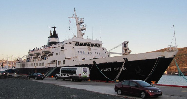 Lyubov Orlova pictured in St John's, Newfoundland in 2012 before it was lost in the Atlantic en route to be scrapped