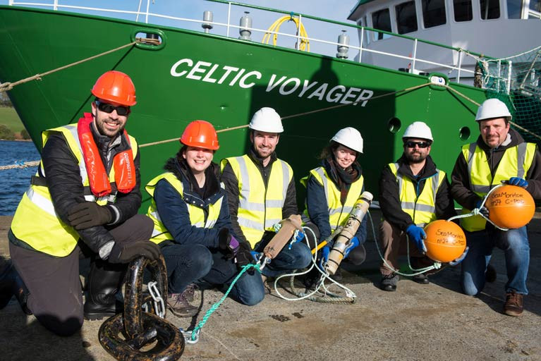 Marine researcheStaff from the SeaMonitor project getting ready to deploy equipment on the Marine Institute's RV Celtic Explorer prior to lockdown. From left: Diego del Villar and Caroline Finlay (Loughs Agency), Nathan Glenn (Ocean Tracking Network), Morgane Pommier (Galway-Mayo Institute of Technology), Joseph Pratt (Ocean Tracking Network) and Ross McGill (Loughs Agency)