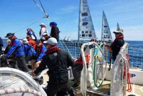 The race to Ireland began in perfect champagne sailing conditions under bright blue skies off the coast of Long Island, New York, USA