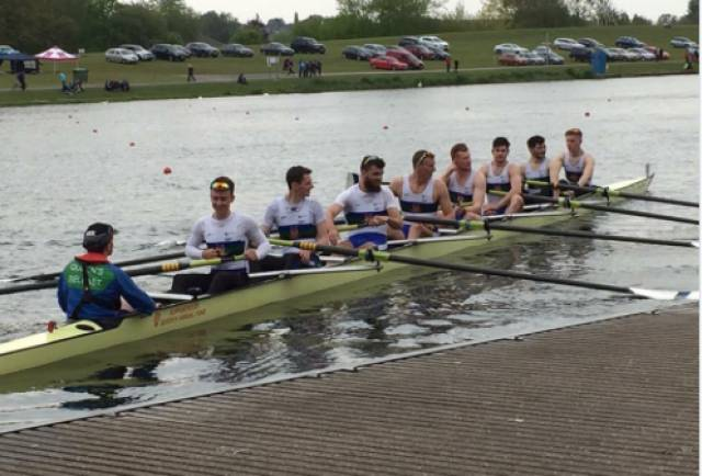 The Queen's novice eight which took gold in the BUCS Regatta at Nottingham.