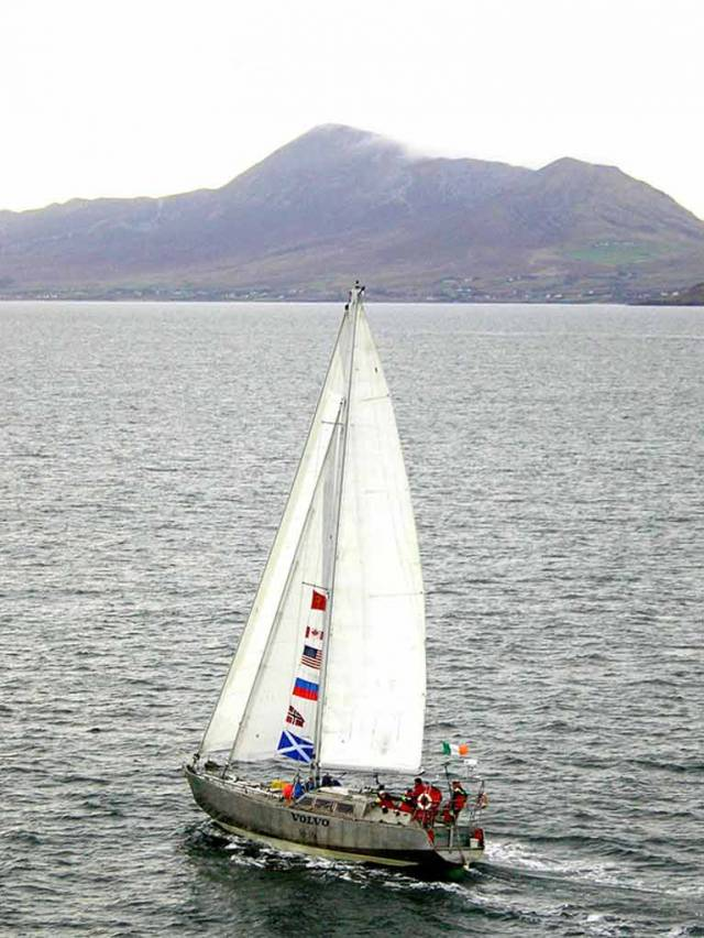 Jarlath Cunnnane's own-built expedition yacht Northabout sails up Clew Bay in Mayo with Croagh Patrick beyond in October 2005 on her return from seasons in the Arctic and Pacific which had seen her transit both the Northwest and Northeast Passages, with Paddy Barry as co-skipper. In 2016, Northabout did both of the Arctic passages in one extraordinary seven week cruise, with Russian ice-voyaging expert Nikolay Litau playing the key role